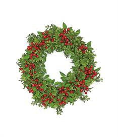"Boxwood and Berries, a natural look for the traditional holiday, all the better for being ""forever fresh."""