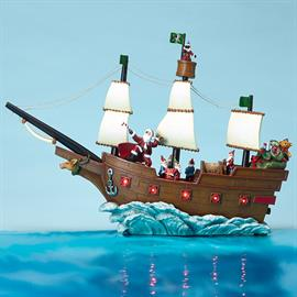 New to the Amusements™ collection, this musical Pirate Ship with rotating figures is a fun, non-traditional Christmas decoration. Its impressive look will attract any customer!