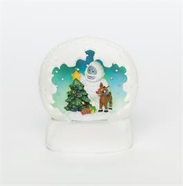 "Tricolored LED Dome features Christmas scene with Rudolph & Bumble. Measures: 4"" H."