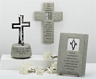 "Expanding on the popular CrossFish® collection, Roman now offers an assortment of classic CrossFish® styled gifts inscribed with Psalm 23, ""The Lord is my Shepherd"". Collection is designed in a textured grey stone finish highlighted with gunmetal silver."