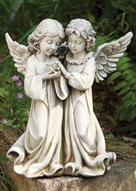 "This detailed angel statue uniquely displays two angels caressing a bird. This exclusive Joseph's Studio® statue can be utilized to create a sense of serenity within one's garden. Measures: 12.25"" H."