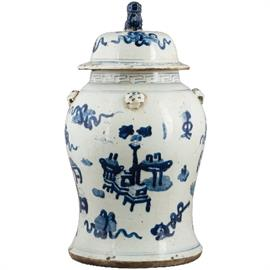 "Hand Painted blue and white ginger jar (item # 50200 9.5"" D x 20H)"