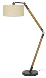 "ModelBo-2756Fl Adjustable Wood/Metal Arc Floor Lamp with Hardback Burlap Shade. Matte Black/Wood finish. 100 watt medium base socket, on/off switch. Height 67"", Base 15', Reach/Depth 46"" . Shade 18"" top and bottom, 9"" side."