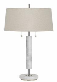 "Model BO-2766TB. Marble Desk Lamp with pull chain switches and burlap shade. Marble finish. 2-60 watt medium base sockets, on/off switch. Height 28"", Base 6"", Reach/Depth 18"". Shade  16 1/2' top, 18"" bottom, 8 3/8"" side."