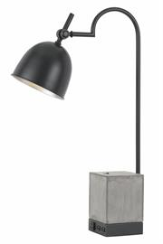 "FX-2770DK. Metal Desk Lamp with cement base, 1 Electrical Outlet and 2 UAB Outlets, Dark Bronze finish. 60 Watt medium base socket, on/off switch. Height 30"", Base and Reach/Depth 15', Shade diameter  1/2'"