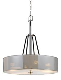 Model FX-3655-4. Metal chandelier. Chrome and black finish. 4 -60 watt medium base sockets. Height, Width and Reach/Depth 19. 3 additional models available.