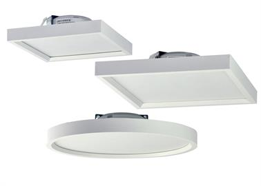 "Nora's new Surf LED surface-mounted ceiling fixture installs over standard or fire-rated J-boxes. The slim line LED is just 7/8"" thick and includes a DC dimmable driver. It is a practical solution for surface mounted lighting that appears to be recessed. Surf offers both general lighting and visual comfort, not typically found in surface-mounted units."