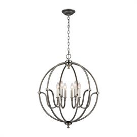 "11843/6_Finish: Weathered Zinc, Brushed Nickel_Size: 72""w x 37""h_Bulb Type: Candelabra"