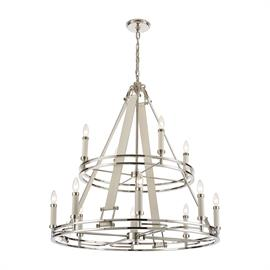 16354/8+4 – Like a fine timepiece, the Bergamo collection 12 light chandelier embodies precise craftsmanship embellished with luxurious materials. Thin, elegant lines are enhanced with oversized candle holders, machined thumbscrews and a complimenting Polished Nickel finish. Featuring genuine white leather straps and leather wrapped candle covers.