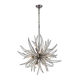 16365/11 – Inspired by the most recognized symbol of warmth and relaxation, the Naples collection 11 light chandelier re-interprets the infamous palm into a sculpture-like presentation of dramatic metal fronds interlaced with glass beading and crystal. The Dark Graphite finish sharply defines the fronds' edges and angles.