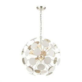 "The Modish collection 6-light Chandelier features an ""explosion""of white discs that combine to form a captivating sphere of design energy. The Matte White finish on the discs is balanced with a hand applied Silver Leaf finished interior for a dynamic combination."