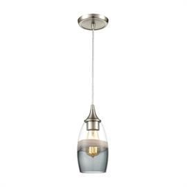 25098/1 – Sutter Creek collection pendant with Clear, Grey, Smoke glass with Satin Nickel hardware. Filament bulb is an available option.