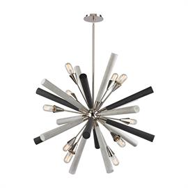 "32233/10_Finish: Polished Nickel, Grey Washed Woodtone_Size: 37""w x 37""h_Bulb Type: Medium"