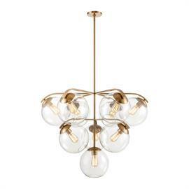 32354/10 – The excitement of mid-century modern design is evident in the understated elements of the Collective series 10 light chandelier. Angled sockets create a different perspective inside the large glass globes, which are cleverly held by metalwork that conforms to the curves of the glass. Finished in Satin Brass. Filament bulbs are an available option.