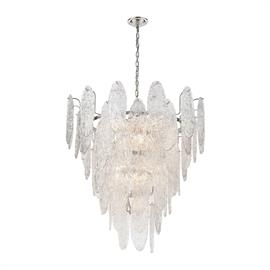 32446/13 – The Frozen Cascade collection 13 light chandelier draws inspiration from a pristine waterfall turned into a majestic ice sculpture. Sheets of textured glass are arranged in layers adding depth to its intentionally frazzled appearance. Finished in Polished Chrome.