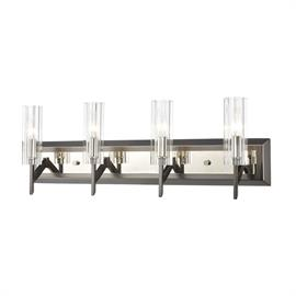 55072/4 – Aspire collection 4-light vanity with Black Nickel/Polished Nickel finish and ribbed clear crystal.