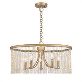 The design of the Marilyn collection is evocative of the glamour and romance of the 1920s. Shimmering gold chains dangle dramatically suspending beads of crystals or pearls. The gold strands create the illusion of full drum shades, shielding slender arms and elegant candelabras. This glamorous design creates a look of timeless elegance that works beautifully in eclectic environments. The Peruvian Gold finish complements a variety of interiors.