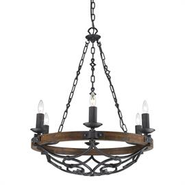 Traditional design influenced by Spanish design. Black Iron finish is lightly weathered the detailed metal scrollwork is hand forged. Solid wood accents give a casual rustic feel.