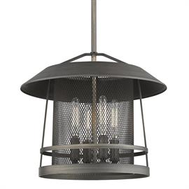 Create a nostalgic retreat with this mesh metal lantern. A traditional silhouette is effortlessly blended with industrial elements for an updated craftsman look. A metal mesh shade adds rustic charm as it sits beneath an overhanging roofline to shield eyes from direct light. The open top cap allows ambient light to reach the ceiling. The versatile rubbed bronze finish allows the series to blend well with a variety of interiors