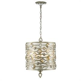 A decorative motif of large faceted crystals. Features intricate metalwork with a delicate, White Gold finish. Sheer Filigree shades softly diffuse the light cast by the exposed candles.