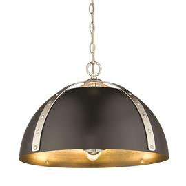 Finally, fashion meets function in a refined, oversized dome pendant with the ability to cast ample light. Aldrich is a stylish collection of industrial-inspired pendants designed to push bright ambient and task light through the tops and bottoms of metal shades. Heavy-duty rivets provide aesthetic appeal and utility, securing the matching wide steel straps to the coordinating shade. Created to complement a wide variety of interior styles, from modern to rustic, these pendants are available in multiple fi
