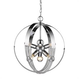 Our Carter Collection is all about balance and equilibrium. The twisted rope details add a feminine touch to balance the bold, masculine frames. These rustic, industrial inspired spheres have a chic, urban appeal. The reflective Chrome finish and exposed medium base sockets enhance the contemporary look. The sockets are evenly distributed for symmetry creating up and down lighting.