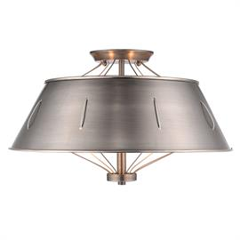 Perfect for rustic, industrial, or loft-like interiors, Whitaker is a series of modern, rustic fixtures. Simple lamps are partially hidden by over-sized shades. The plated metal shades are pierced by industrial cables. The aircraft cables combine form with function connecting the fixture bodies to the shades and center columns. The collection features a matte Aged Steel finish that is dark and industrial.