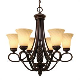 The styling of the swirled center columns and finials is echoed in the shape of the glass shades. Cordoban Bronze finish has rich tones reminiscent of bronze sculptures.