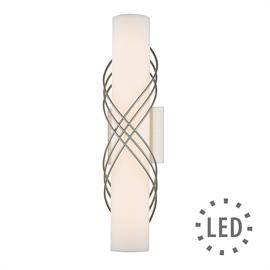Clean, modern and sophisticated, Juliette is a series of dimmable, energy-efficient LED bath bars. Metal ribbons wrap the fixtures for a soft, feminine look. The bright lights are perfect over or next to a mirror.
