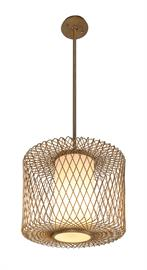 The Hideaway fixture welcomes with an impression of tropical elegance. The delicate, hand-worked iron cage, finished in champagne leaf, creates the look of an open basket weave. The result of the craftsmanship and artisan detailed effort behind this fixture is the kind of tactile texture not typically associated with metal. Nested within the diamond pattern cage is a performance LED light source within a closed bottom glass cylinder that diffuses the light warmly and evenly.