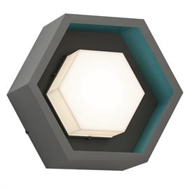 Hex is a smart, geometric fixture by CSL. Featuring warm, diffused illumination encased in a multi-colored, six-sided shape, Hex is available in two sizes: SS2000 (120V 18W LED, 1260 lm) and the smaller SS2000A (120V 12W LED, 840 lm). The hexagonal fixture comes in stamped aluminum housing with a molded acrylic lens/diffuser and is offered in a multitude of finishes for both the housing and the inner accent color. The dimmable, ADA compliant wall and flush mount is UL/C-UL listed for damp or wet locations
