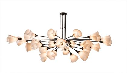 Gorgeous 24 light steel pendant with petal-like spun frost shades. Inspired by our Mobius Collection.