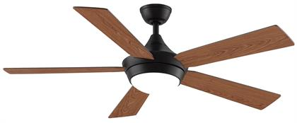 Offered in Brushed Nickel with reversible Cherry/Walnut blades, Dark Bronze and reversible Cherry/Walnut blades, and Matte White with Matte White blades.  Features an AC motor with 3 forward and 3 reverse speeds. BTT9 fanSync remote control included with 18W LED.  For use in dry locations only.