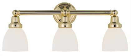 In a polished brass finish, this one light bath fixture features a timeless torchiere design. Topped with Satin Opal White glass shades providing a clean and classic look that will complete any space. Perfect finishing touch when arranged alone or in pairs.