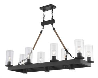 This simple bronze frame has eight lights and three 50 watt GU10 down lights(not included) and comes with two decorative rope wrapped arms. To finish off the look of this linear chandelier it comes with clear glass cylinders and complements a variety of trending and traditional styles from farmhouse and rustic to coastal and traditional.