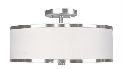 Update your decor with this sleek semi flush mount design. The shaded frame comes in a brushed nickel finish which nicely complements the hand crafted white pleated shade.