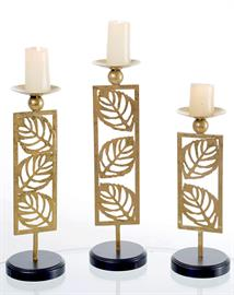 Contemporary gold leaves form a set of 3 elegant candle holders for Harvest décor.