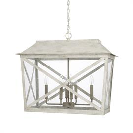 "This 6-light lantern-style foyer has a two-toned finish (Sand Dollar) and measures 28.25""W X 23.50""H."