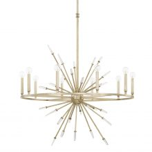 "This Adira 10 light chandelier is finished in Winter Gold, and measures 36""W X 92""H (Product #428201WG)."
