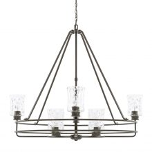 "This Bristol 8 light chandelier is a Farmhouse style and measures 42.25""W X 37.50""H (Product #425082FH-444)."