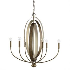 "This Dahlia 6-light chandelier has a silver and bronze finish and measures 30""W X 32.50""H (Product #424961SZ)."