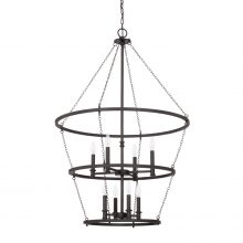 "This Lancaster 8-light foyer has a black iron finish and measures 30""W X 45""H (Product #528781BI)."