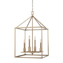 "This Lyra 4-light foyer has an aged brass finish and measures 20.25""W X 34""H (Product #527541AD)."