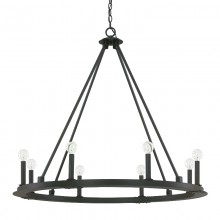 "This Pearson 8-light chandelier has a black iron finish and measures 36""W X 33""H (Product #4918BI-000)."