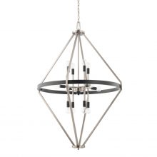 "This Tux 12-light foyer fixture has a black tie finish and measures 29""W X 43.50""H (Product #525201BT)."