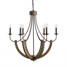 "This Tybee 6-light chandelier has a nordic grey finish and measures 30.25""W X 32""H (Product #429161NG)."