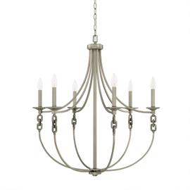 "This Wallace 6-light chandelier has an antique nickel finish and measures 29.50""W X 32.50""H (Product #427961AN)."