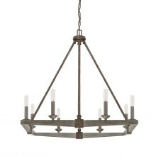 "This Zac 8-light chandelier has a urban grey finish and measures 27.50""W X 28""H (Product #425981UG)."