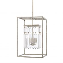 "This Drake 4-light foyer has an antique silver finish and measures 16""W X 75""H (Product #525341AS)."