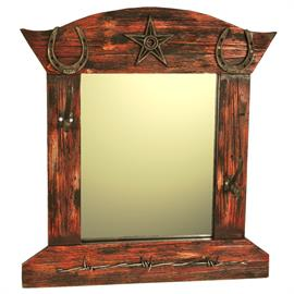 "19""x20.5"" Mirror with star, horseshoe, and barbwire decoration on finished wood. Classic ranch style at a price that cannot be beat."